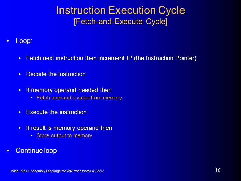 Instruction Execution Cycle [Fetch-and-Execute Cycle]